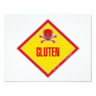 """Advertencia del veneno del gluten invitación 4.25"""" x 5.5"""""""