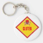 Advertencia del veneno del gluten llaveros