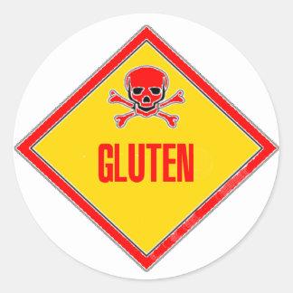 Advertencia del veneno del gluten pegatina redonda