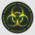 Advertencia del zombi del Biohazard Pegatina Redonda