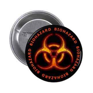 Advertencia del zombi del Biohazard Pin Redondo De 2 Pulgadas
