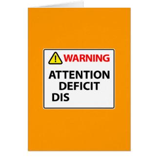 Advertencia - desorden de déficit de atención tarjeta pequeña