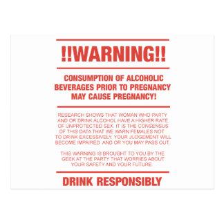 Advertencia divertida del alcohol y del embarazo tarjeta postal