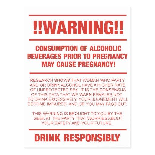Advertencia divertida del alcohol y del embarazo tarjetas postales