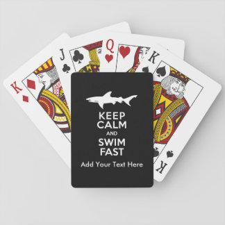 Advertencia divertida del tiburón - guarde la barajas de cartas