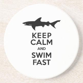 Advertencia divertida del tiburón - guarde la posavasos manualidades