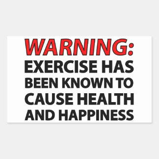 Advertencia: El ejercicio se ha sabido para causar Pegatina Rectangular