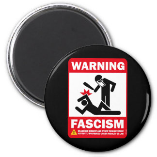 Advertencia: Fascismo Imán Redondo 5 Cm