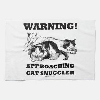 ¡Advertencia! Gato inminente Snuggler tres gatos Toallas De Mano