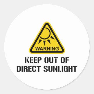 ADVERTENCIA - guarde fuera de luz del sol directa Pegatina Redonda