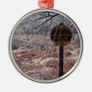 Advertencia helada de la tubería del petróleo adorno navideño redondo de metal