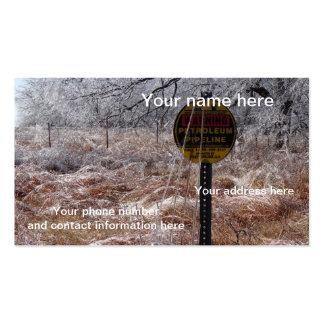 Advertencia helada de la tubería del petróleo tarjetas de negocios