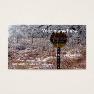 Advertencia helada de la tubería del petróleo tarjetas de visita