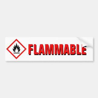Advertencia inflamable del peligro con el pegatina para auto