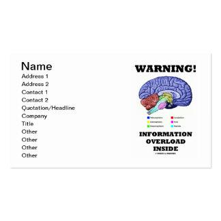 ¡Advertencia! Interior de la sobrecarga de informa Tarjetas Personales