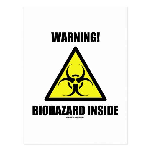 ¡Advertencia! Interior del Biohazard (humor de la Postales