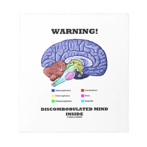 ¡Advertencia! Interior Discombobulated de la mente Blocs De Notas