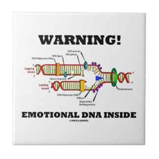 ¡Advertencia! Interior emocional de la DNA Azulejo Cuadrado Pequeño