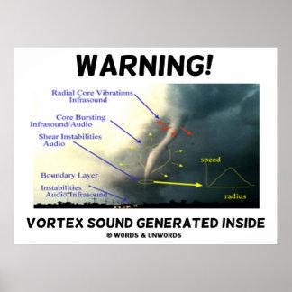 ¡Advertencia! Interior generado sonido del vórtice Posters