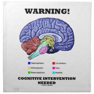 ¡Advertencia! Intervención cognoscitiva necesaria Servilletas Imprimidas