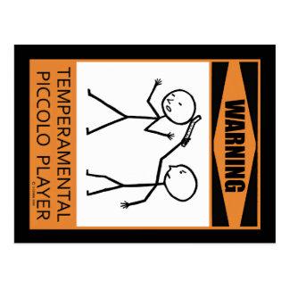 ¡Advertencia! ¡Jugador de flautín temperamental! Postal