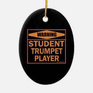 ¡Advertencia! ¡Jugador de trompeta del estudiante! Adorno Ovalado De Cerámica