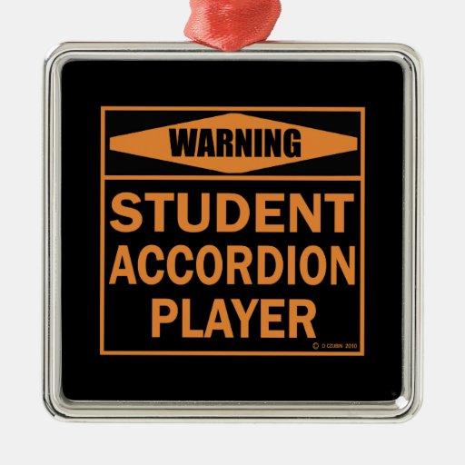¡Advertencia! ¡Jugador del acordeón del Adorno Cuadrado Plateado
