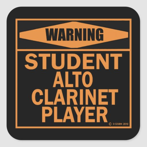 ¡Advertencia! ¡Jugador del Clarinet del alto del Pegatinas Cuadradases
