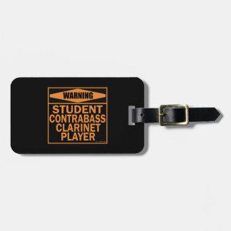 ¡Advertencia! ¡Jugador del Clarinet del Contrabass Etiquetas De Equipaje