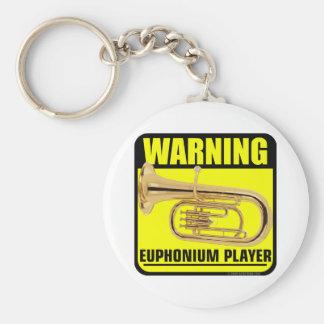 ¡Advertencia! Jugador del Euphonium Llavero Redondo Tipo Pin