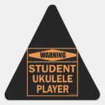 ¡Advertencia! ¡Jugador del Ukulele del estudiante! Pegatina Triangular