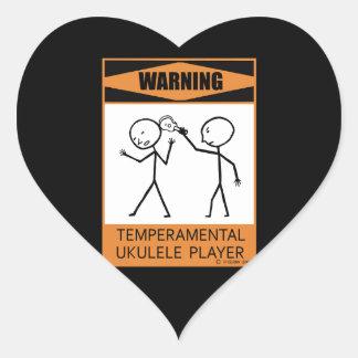 ¡Advertencia! Jugador temperamental del Ukulele Pegatina En Forma De Corazón