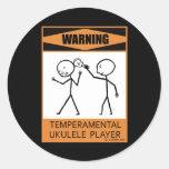¡Advertencia! Jugador temperamental del Ukulele Pegatinas Redondas