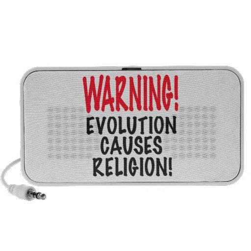 ¡ADVERTENCIA! La EVOLUCIÓN CAUSA LA RELIGIÓN, rojo Altavoz