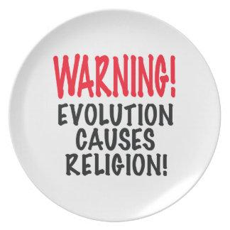 ¡ADVERTENCIA La EVOLUCIÓN CAUSA LA RELIGIÓN rojo Platos De Comidas