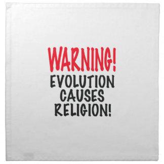¡ADVERTENCIA! La EVOLUCIÓN CAUSA LA RELIGIÓN, rojo Servilleta Imprimida