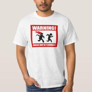¡Advertencia! Los zombis pueden ser camiseta Playera
