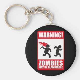 Advertencia: Los zombis son inflamables Llavero Redondo Tipo Pin