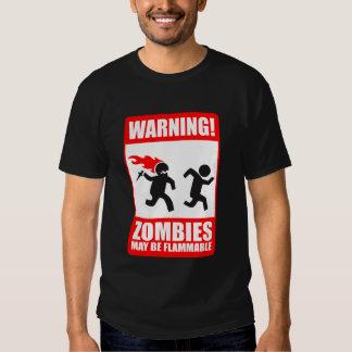 advertencia: los zombis son inflamables remeras