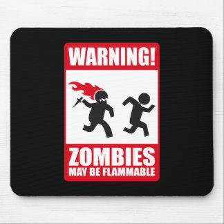 Advertencia: Los zombis son inflamables Tapete De Ratón