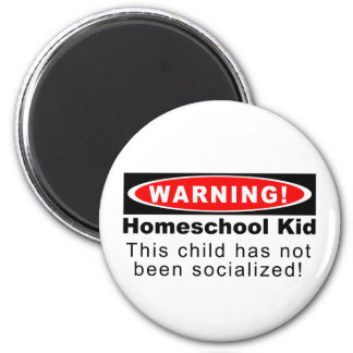 ¡Advertencia!  Niño de Homeschool Imán Redondo 5 Cm