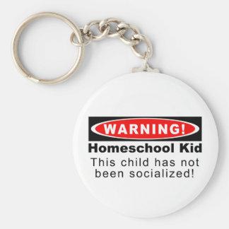 ¡Advertencia!  Niño de Homeschool Llavero Redondo Tipo Pin