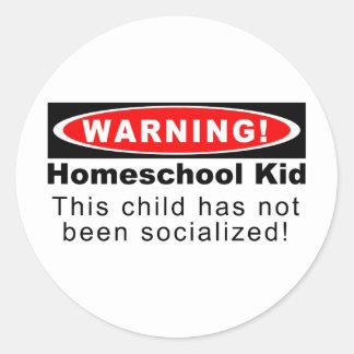 ¡Advertencia Niño de Homeschool Pegatina