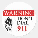 Advertencia: No hago marco 911 Etiquetas Redondas