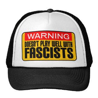 Advertencia: No juega bien con los fascistas Gorros Bordados