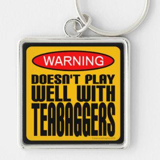 Advertencia: No juega bien con Teabaggers Llavero Cuadrado Plateado