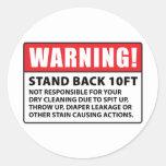 Advertencia: No responsable de la limpieza en seco Etiqueta Redonda