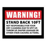 Advertencia: No responsable de la limpieza en seco Tarjeta Postal