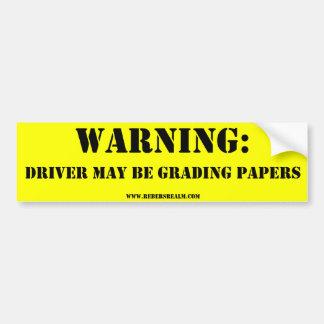 Advertencia: papeles de clasificación del conducto etiqueta de parachoque