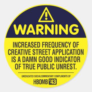 Advertencia Etiqueta Redonda